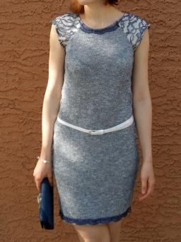 Sew stretchy: Blue knit & lace dress