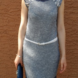 Sew stretchy: Blue knit & lace dress