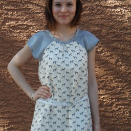 Printed T-shirt dress with raglan sleeves and… MUSTACHE! :)
