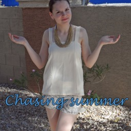 "Chasing summer with Burda's shorts and ""failed"" skirt turned into a top"