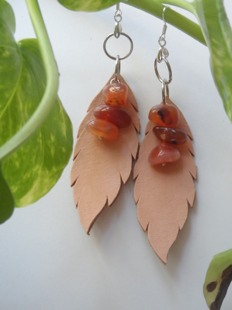 Genuine leather earrings