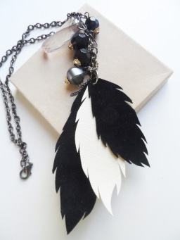 Monochrome feather necklace by Firefly Trade Goods