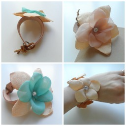 Leather flower bracelets now on Etsy