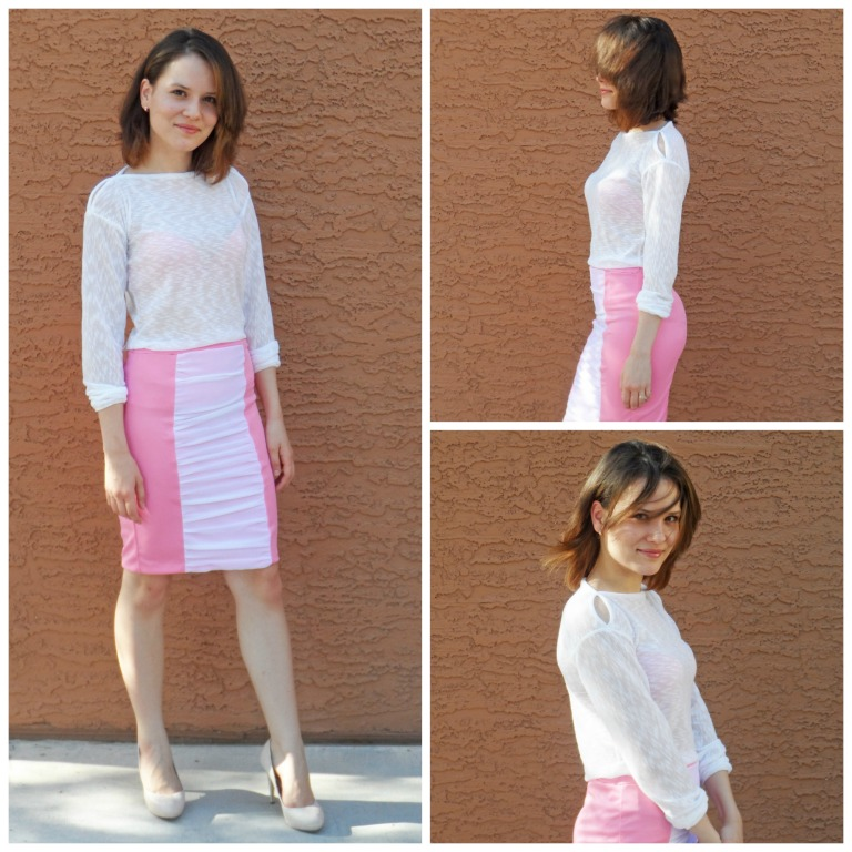 Pink skirt collage