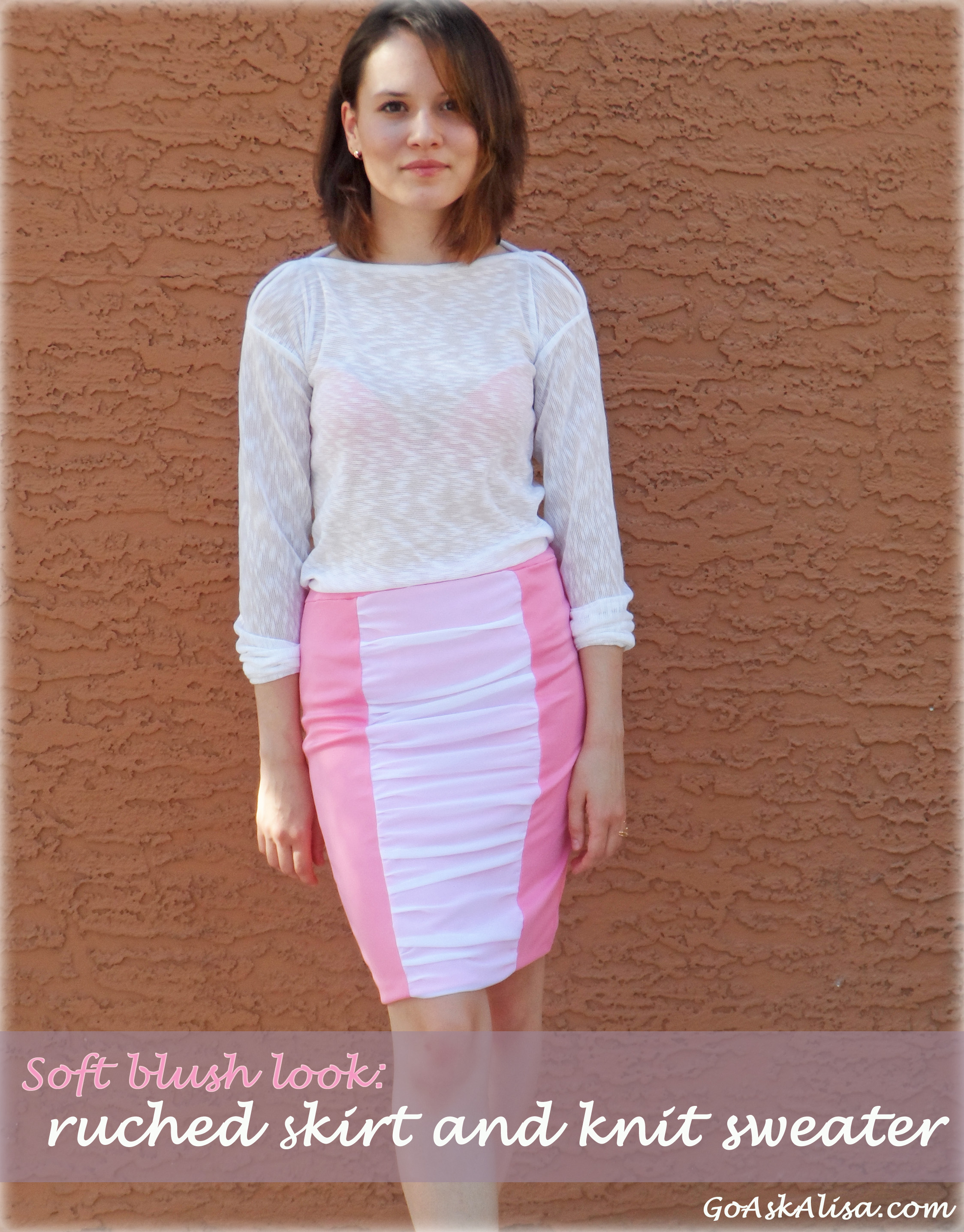Soft blush look: sewing Burda\'s ruched skirt and knit sweater (with ...