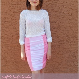 Soft blush look: sewing  Burda's ruched skirt and knit sweater (with pattern)