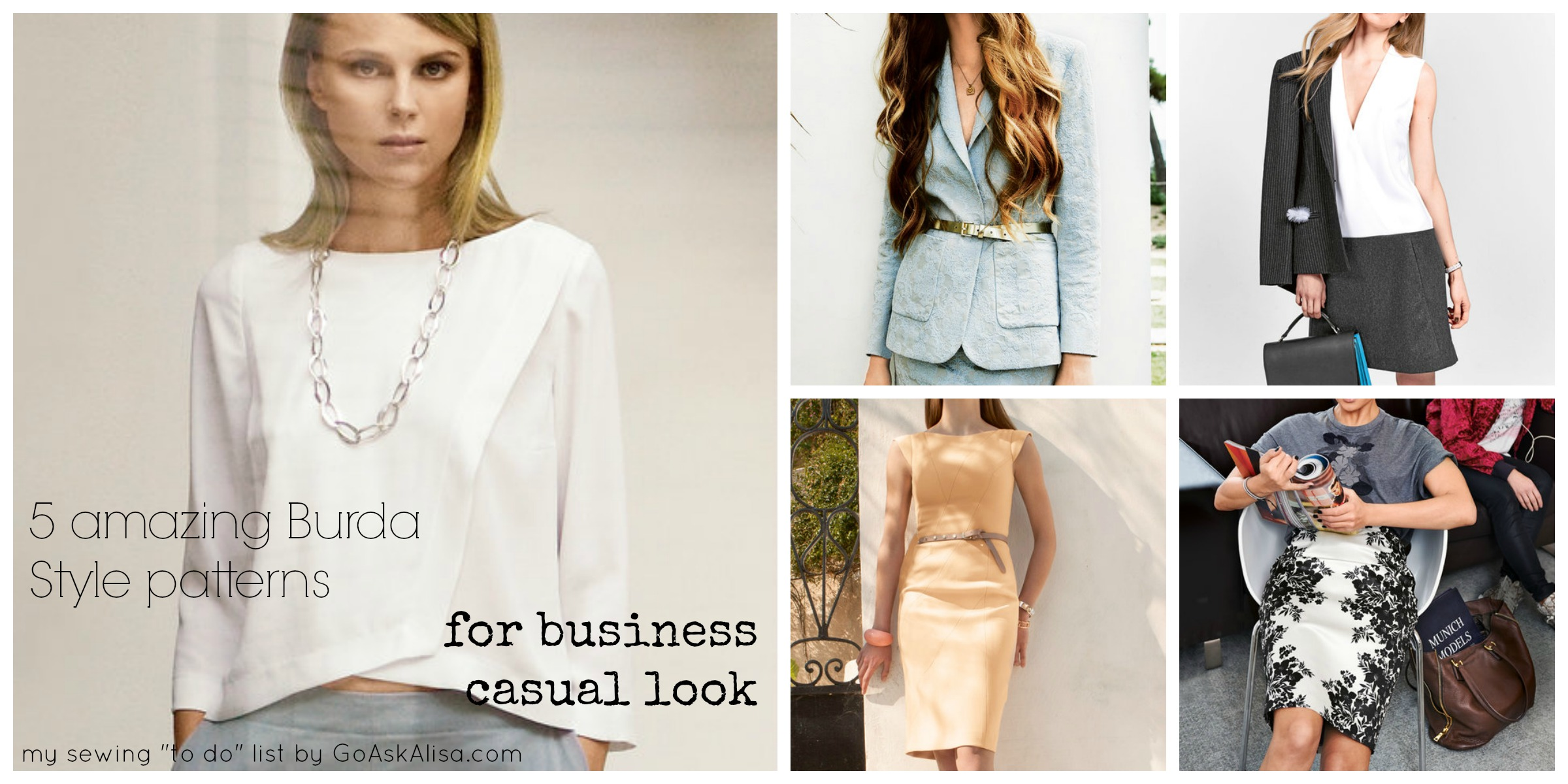 """My Sewing """"to do"""" list – 5 perfect Burda Style patterns for Business ..."""
