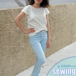 Sewing skinny pants! Take two in baby blue