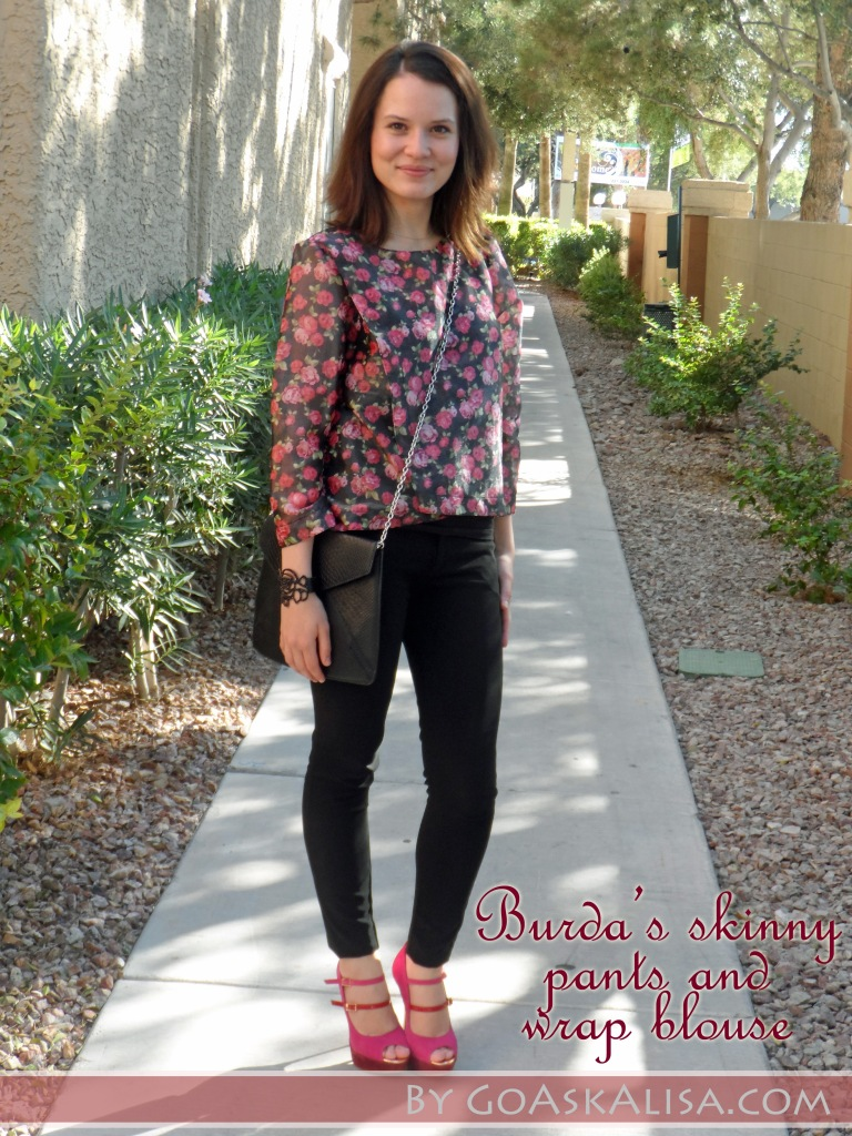Blouse and pants, pink heels 2