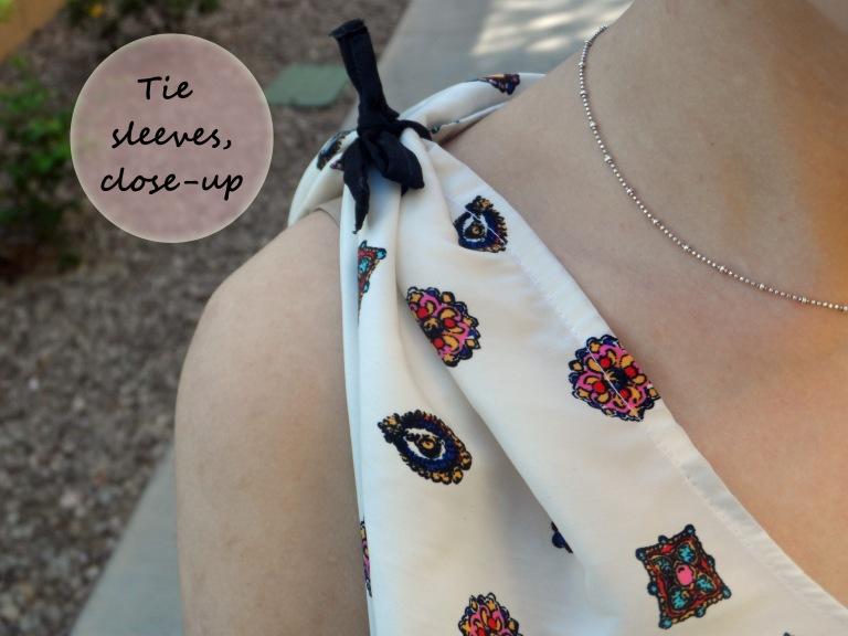 V-neck tie sleeves