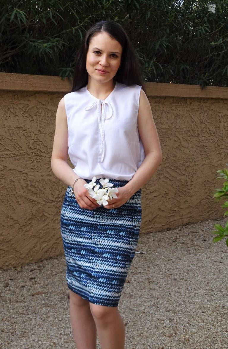blue pencil skirt front full