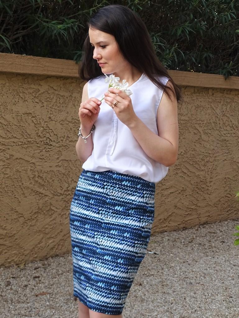 Blue pencil skirt side 1