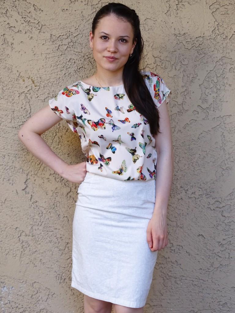 day 15  pencil skirt and kimono blouse 1