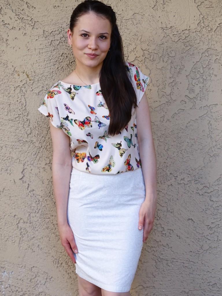 day 15  pencil skirt and kimono blouse