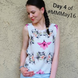 #MMMay Day 4 – Burda pants and floral blouse