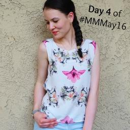 #MMMay Day 4 – Burda pants and floral blouse