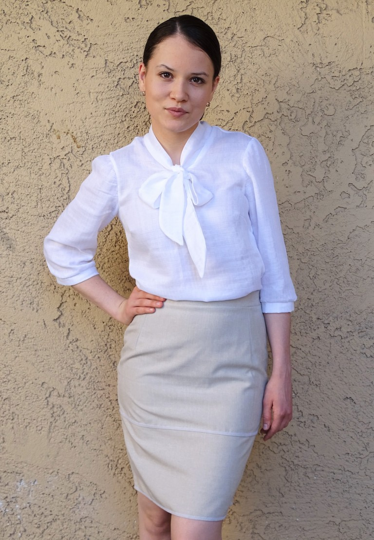 work outfit mmmay16 - pencil skirt and blouse cover 1