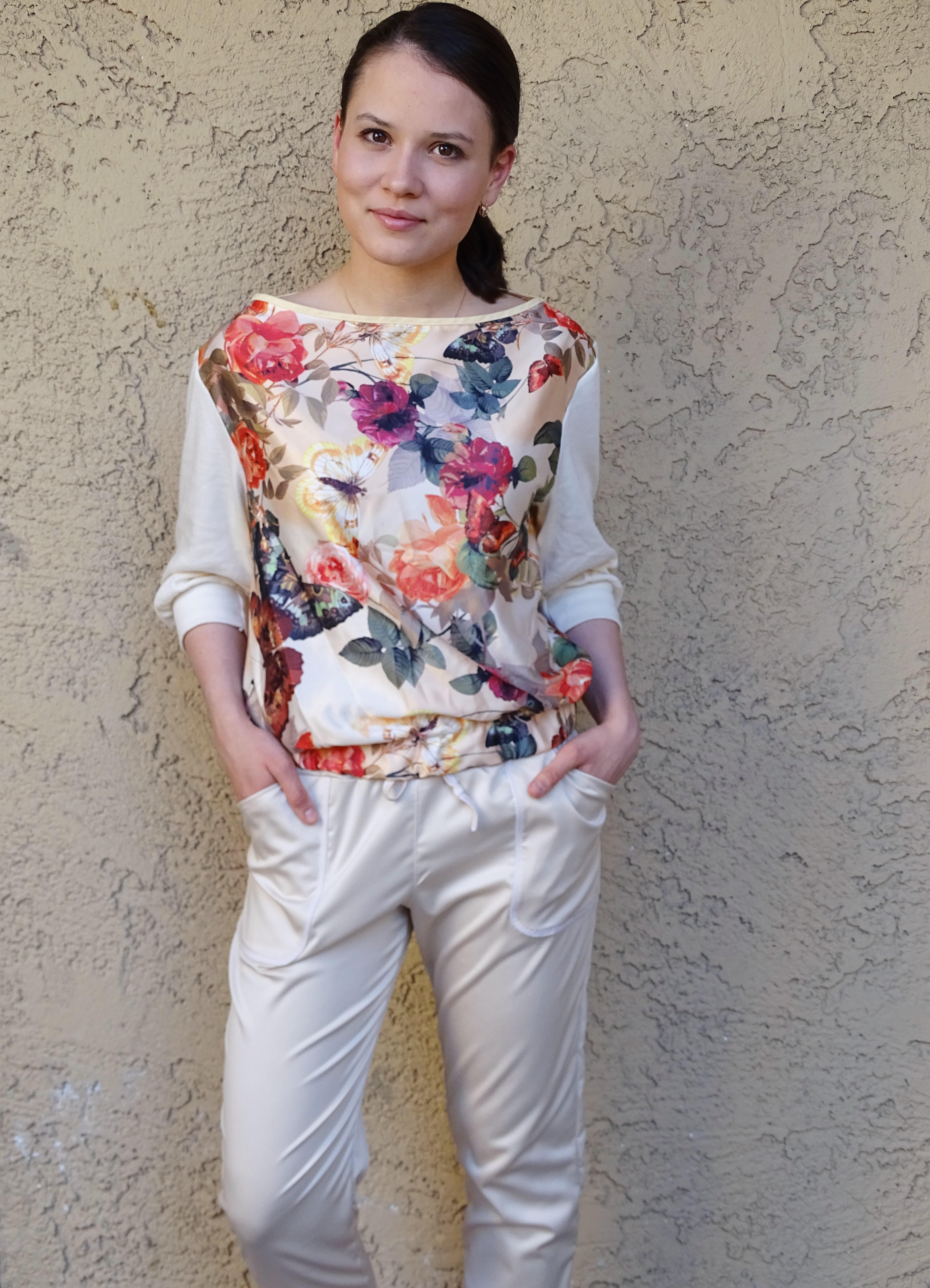 Moji pants - beige and floral