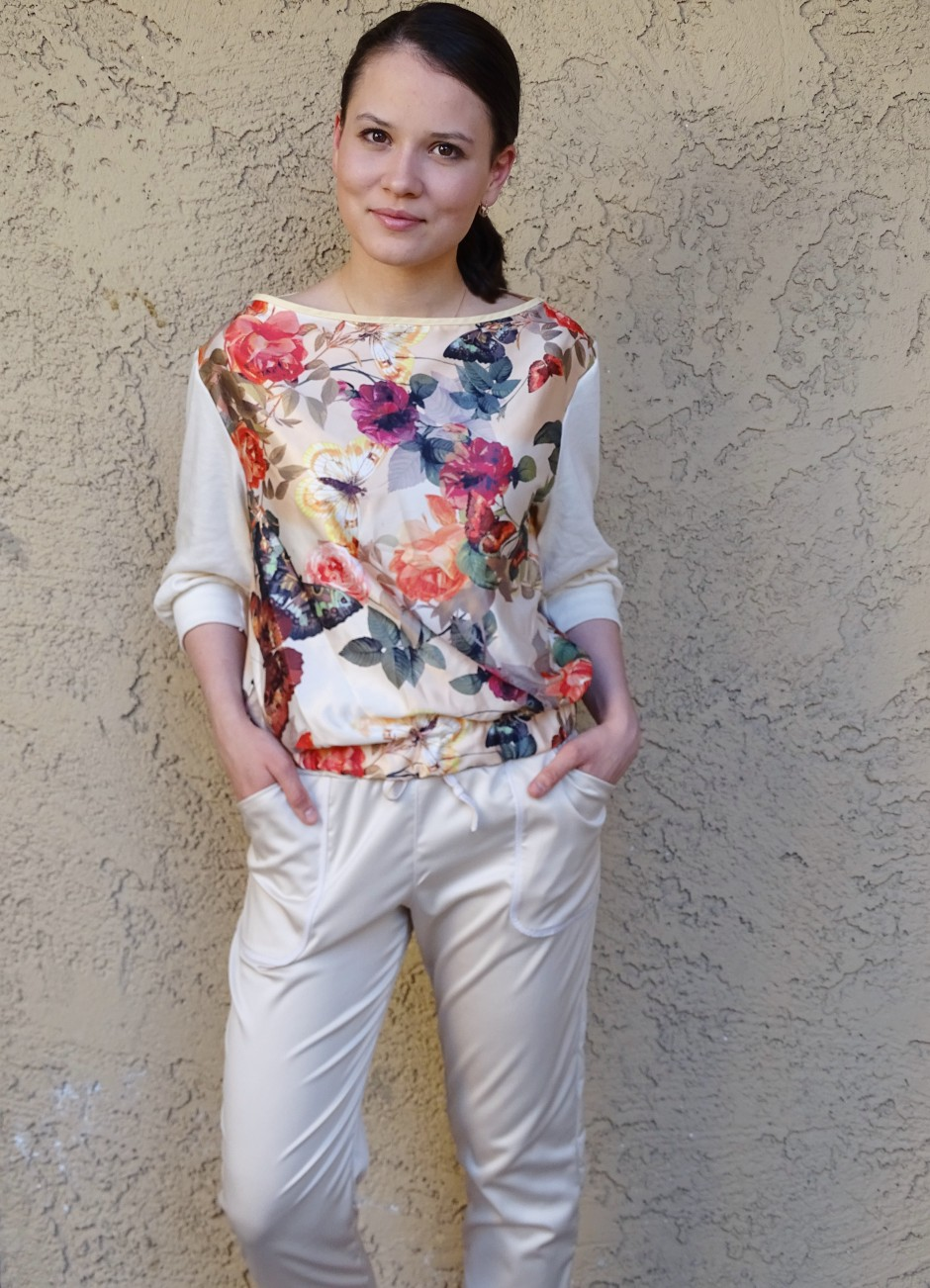 Moji pants - beige and floral