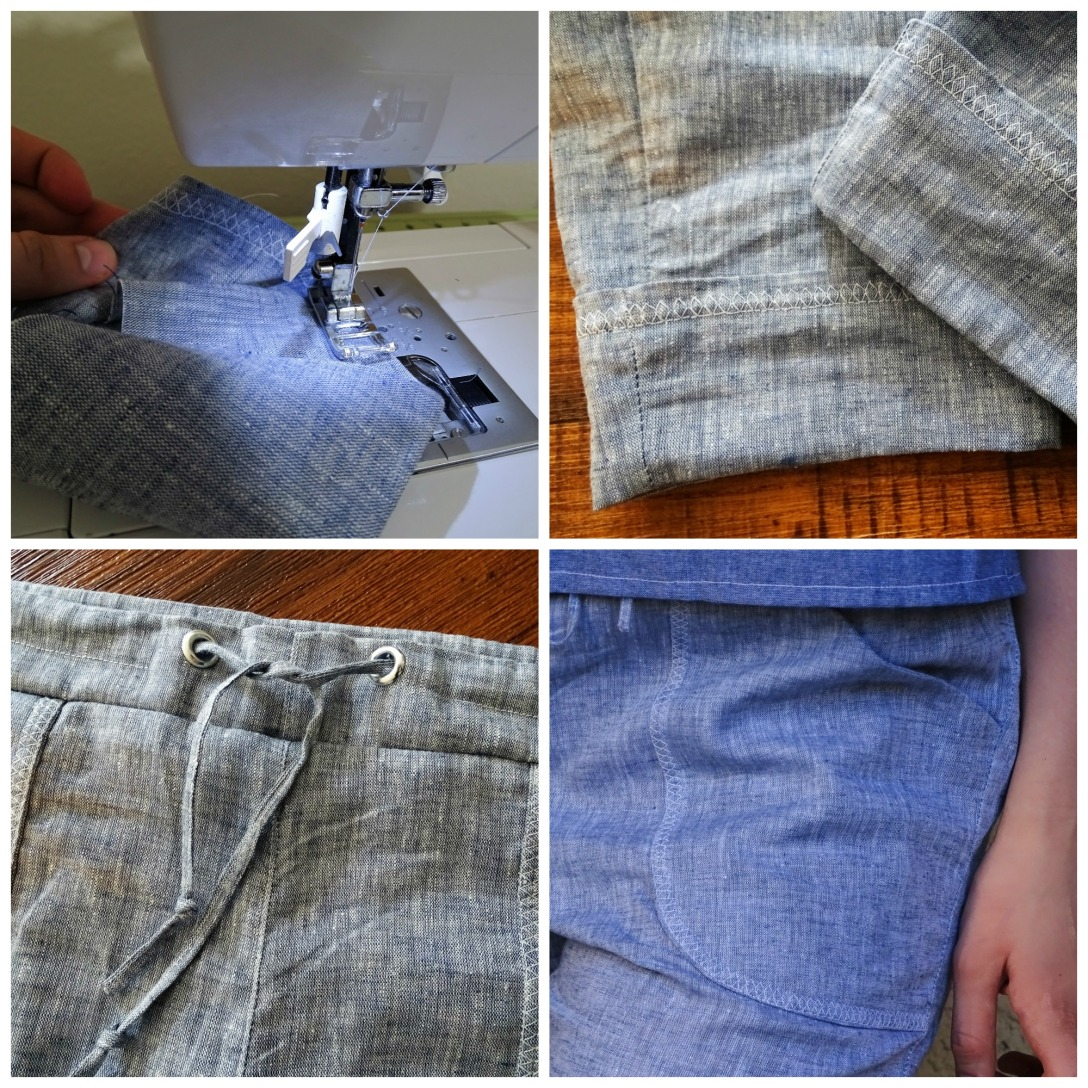 moji pants details of sewing