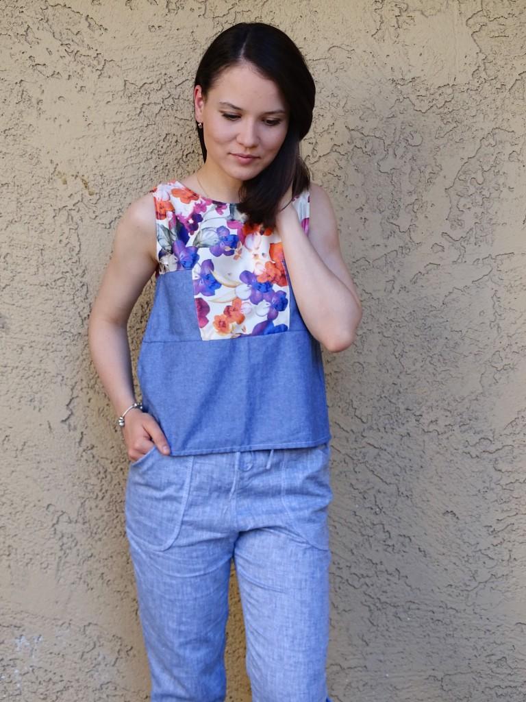 Moji pants in blue linen 1